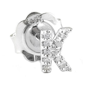 STERLING SILVER DIAMOND INITIAL STUD