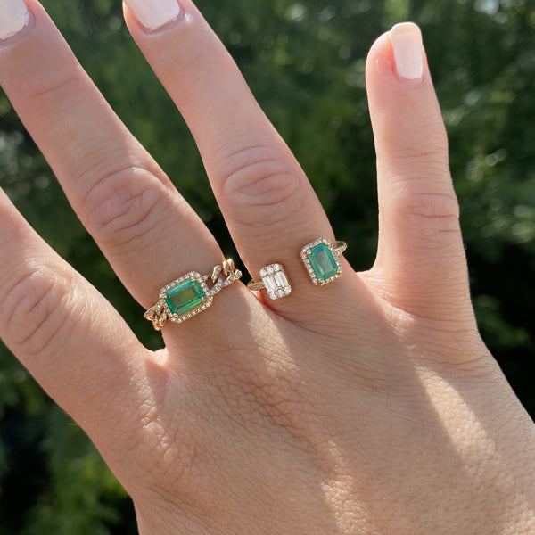 14K GOLD DIAMOND AND EMERALD CHAIN RING