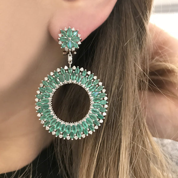 18K WHITE GOLD EMERALD AND DIAMOND BRITTANY EARRINGS