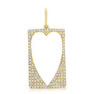 14K GOLD DIAMOND GRACE HEART CHARM