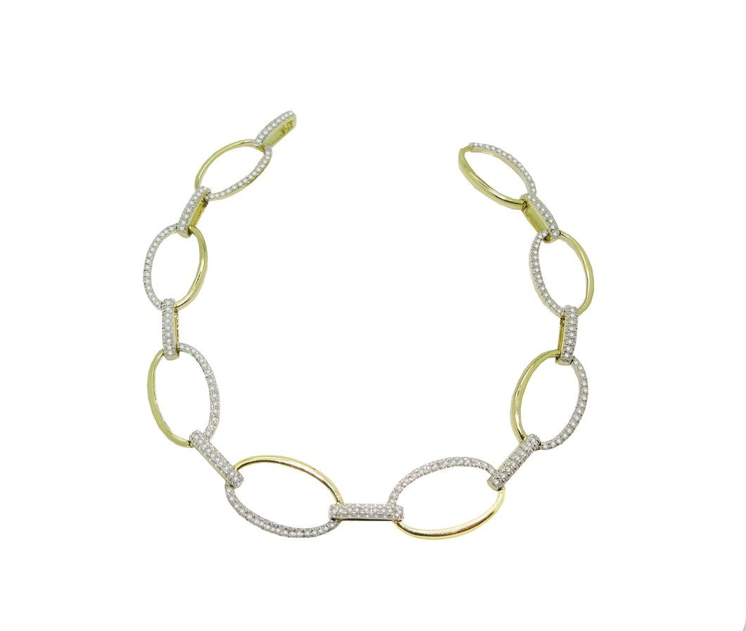 Diamond Oval Link Bracelet in 14k Yellow Gold