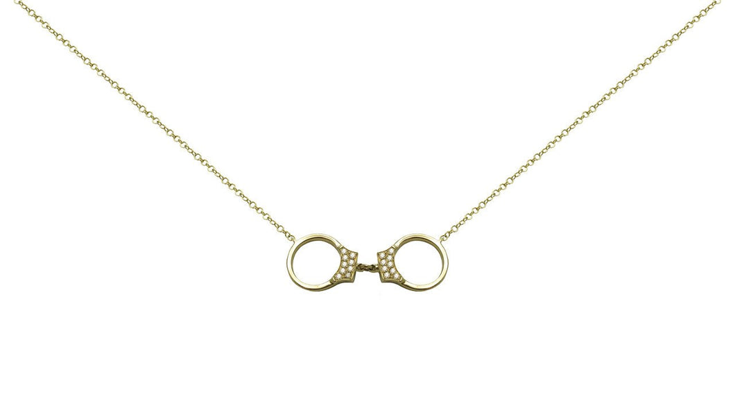 Diamond Handcuff Necklace in 14k Yellow Gold