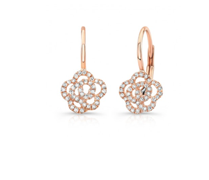 14K GOLD DIAMOND CAMELIA EARRINGS