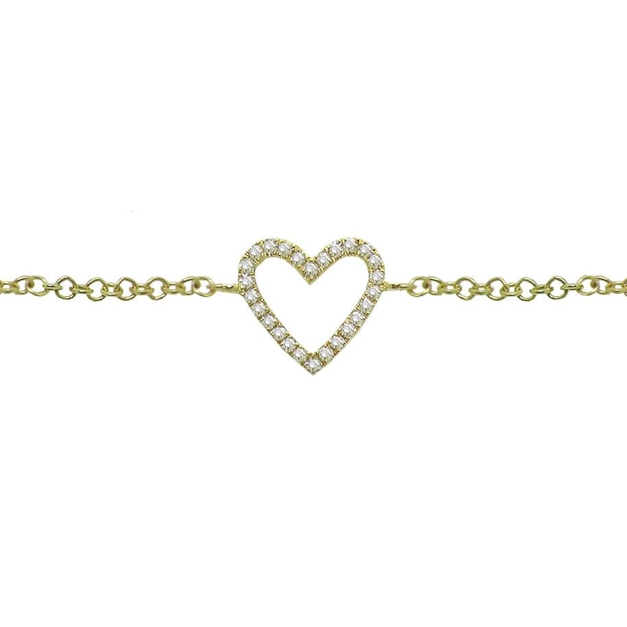 Diamond Cutout Heart Bracelet in 14k Gold