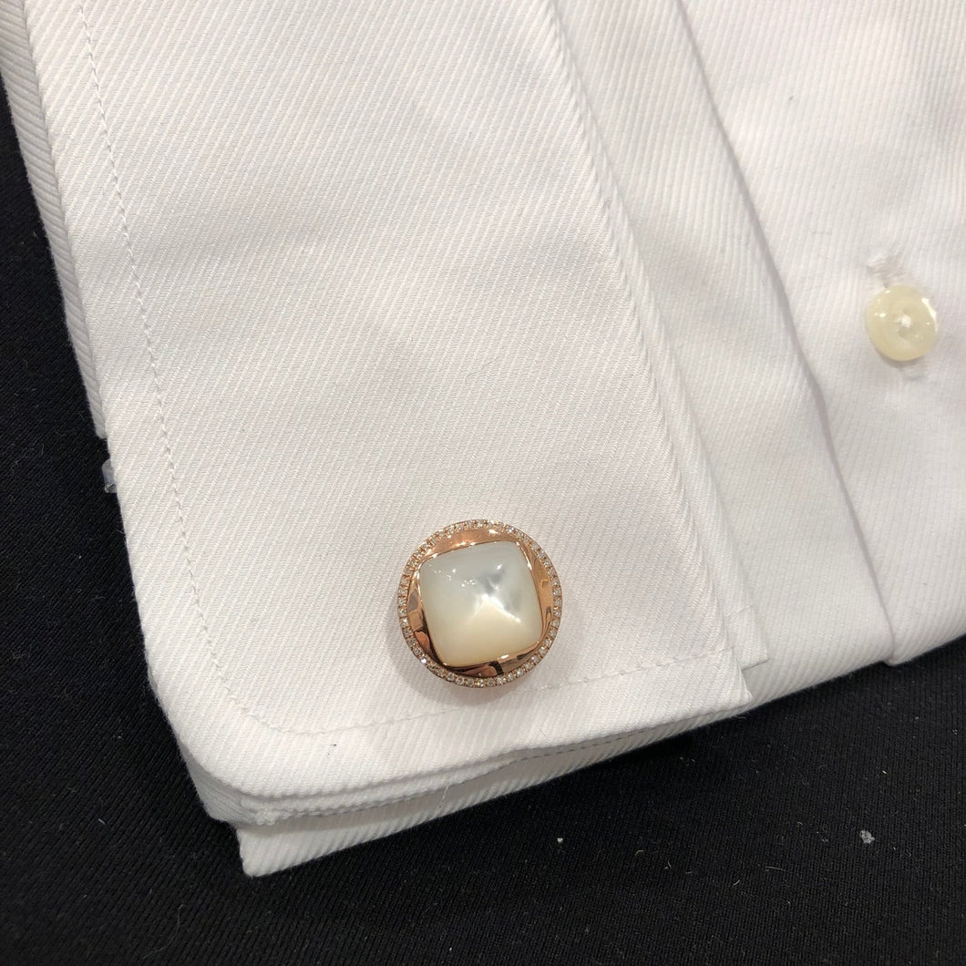 14K GOLD DIAMOND AND MOTHER OF PEARL RYAN CUFFLINKS