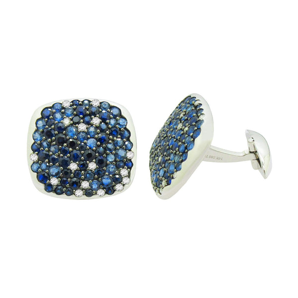 14K WHITE GOLD DIAMOND SAPPHIRE ADAM CUFFLINKS