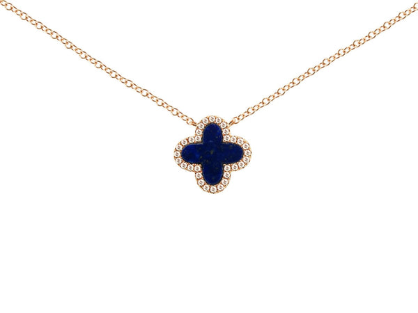 Diamond and Lapis Clover Necklace in 14k Rose Gold