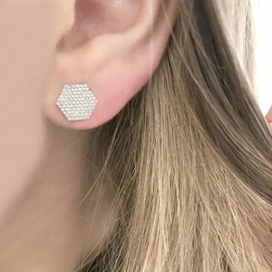 14K GOLD DIAMOND HEXAGON STUDS (ALL COLORS)