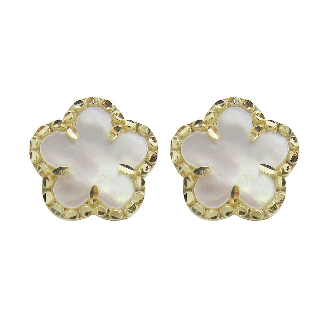 14K GOLD MOTHER OF PEARL KIMMY CLOVER STUDS