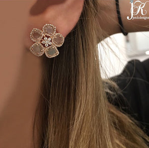 14K GOLD DIAMOND SLICE FLOWER STUDS (ALL COLORS)