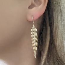 14K GOLD DIAMOND FIONA FEATHER EARRINGS