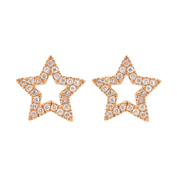 14K GOLD DIAMOND RIKKI STAR STUDS