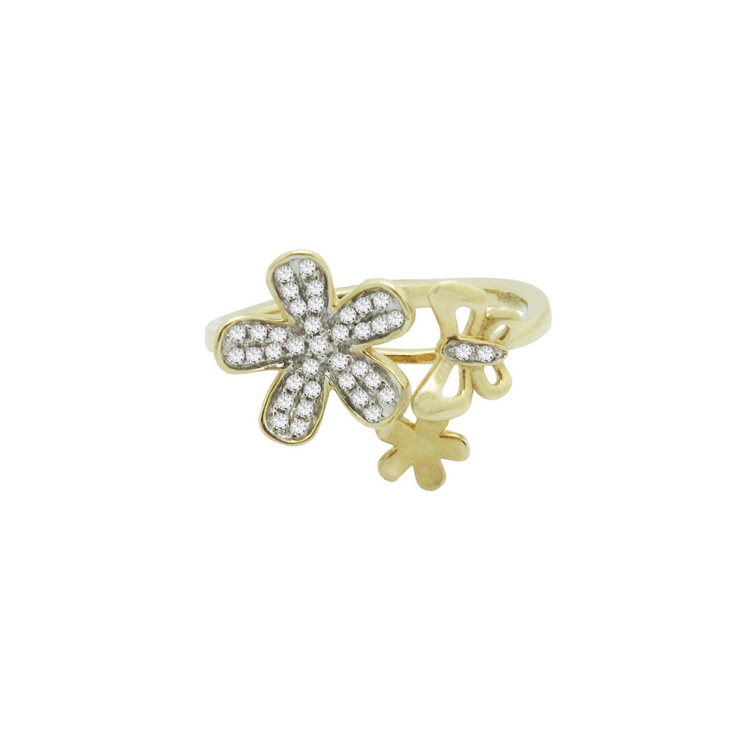 14K GOLD DIAMOND BUTTERFLY FLOWER RING