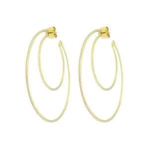 14K GOLD DIAMOND DOUBLE HOOPS