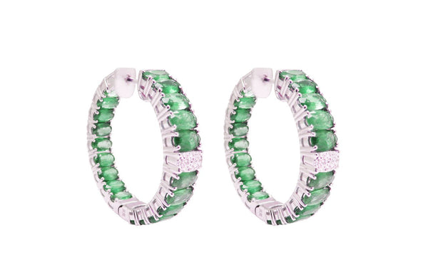 18K WHITE GOLD EMERALD DIAMOND HOOPS