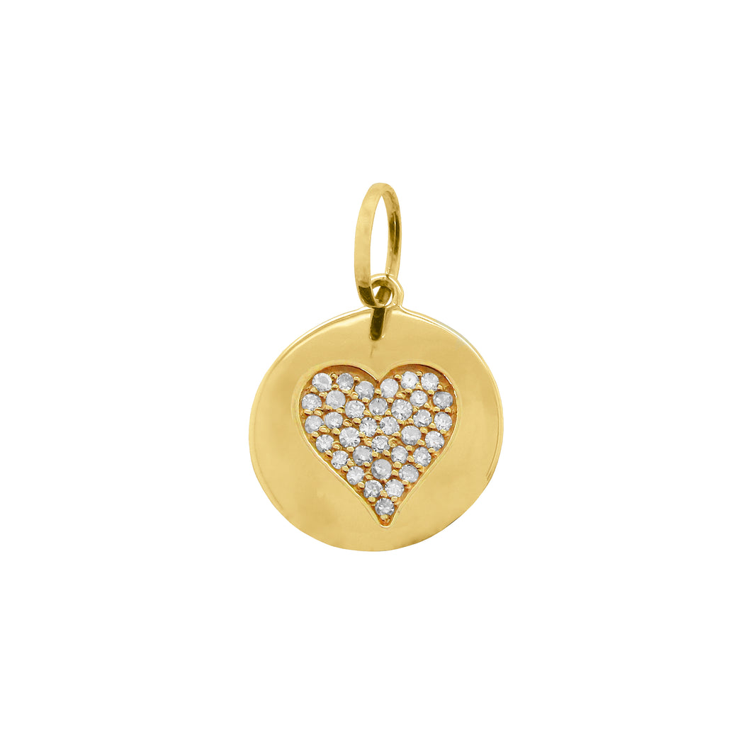 14K GOLD DIAMOND HEART DISC CHARM