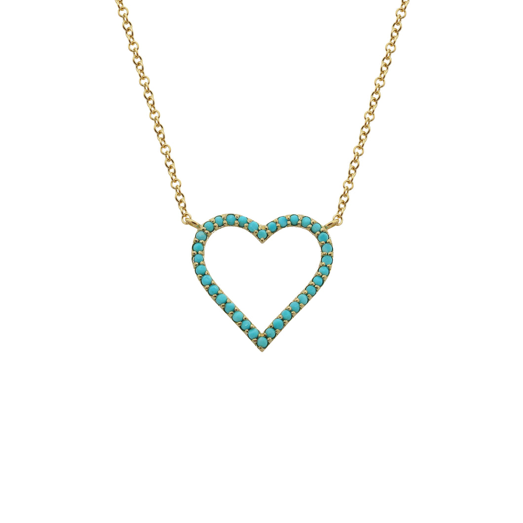14K GOLD TURQUOISE ROXANNE HEART NECKLACE