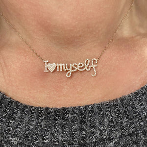 "14K GOLD DIAMOND ""I LOVE MYSELF"" NECKLACE"