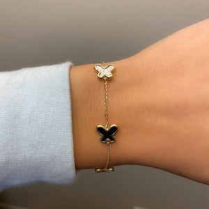 14K GOLD MOTHER OF PEARL AND BLACK LARGE MEGAN BUTTERFLY BRACELET