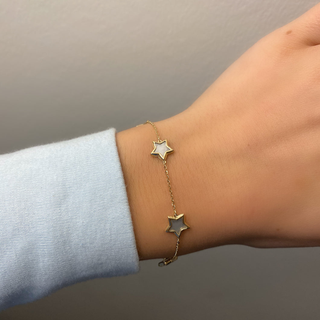 14K GOLD MOTHER OF PEARL LARGE MEGAN STAR BRACELET