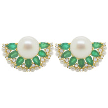 18K GOLD DIAMOND PEARL AND EMERALD KHLOE EARRINGS