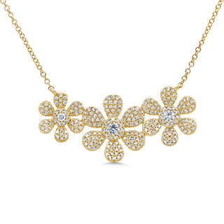 14K GOLD DIAMOND CARA FLOWER NECKLACE
