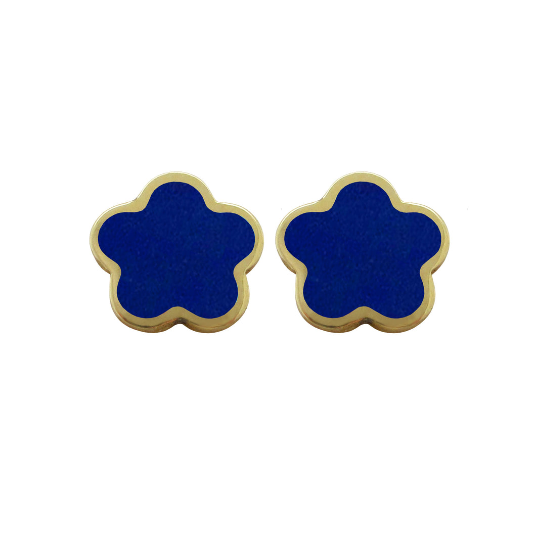14K GOLD MEGAN SMALL BLUE FLOWER STUDS