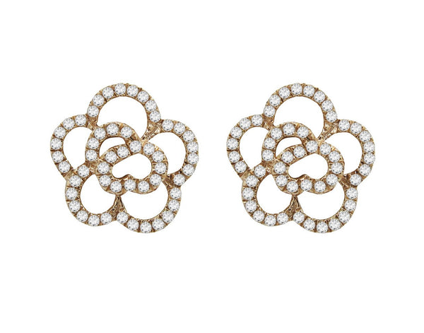 14K GOLD DIAMOND LARGE CAMILIA FLOWER STUDS