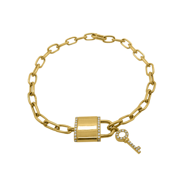 14K GOLD DIAMOND LOCK AND KEY BRACELET