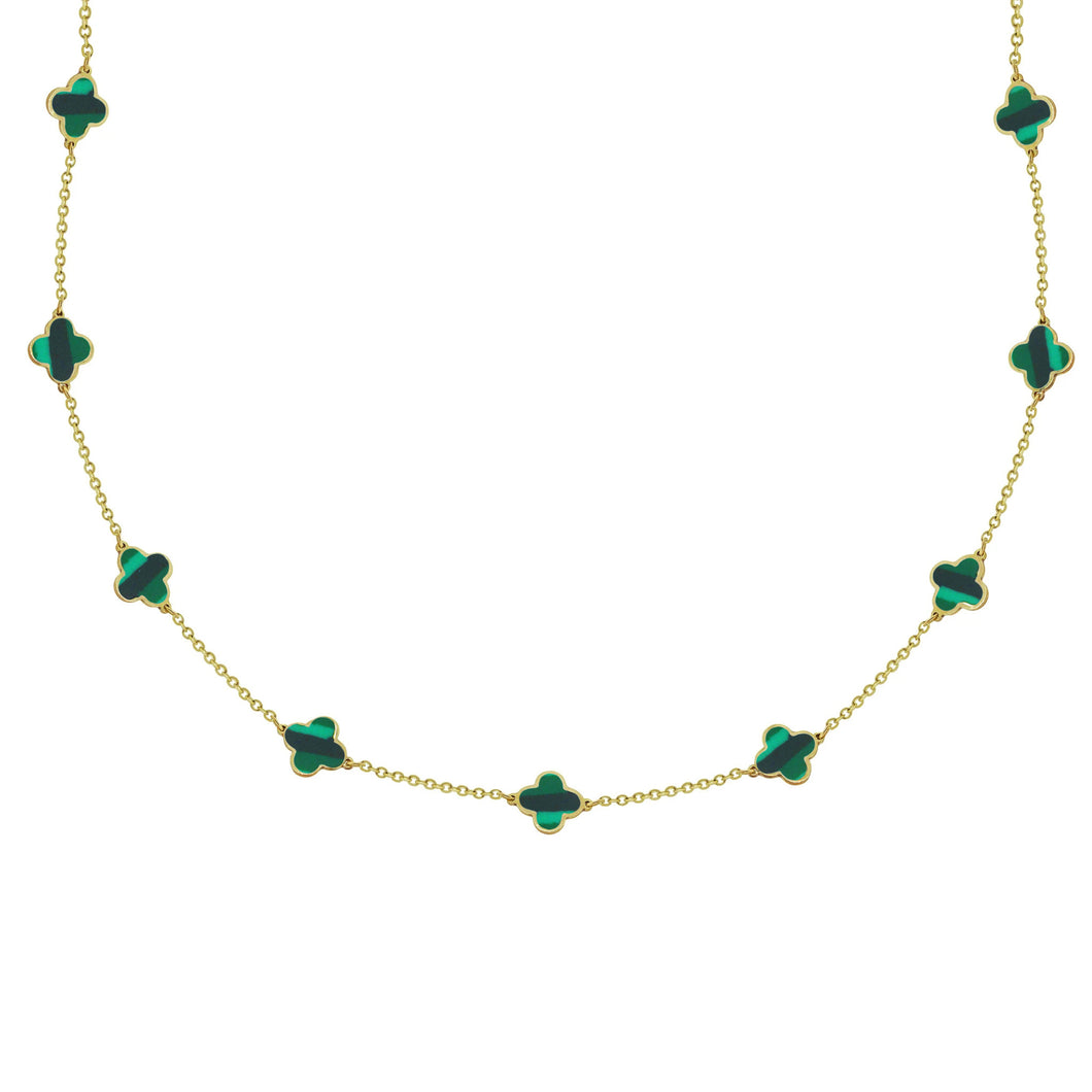 14K GOLD MEGAN MALACHITE CLOVER NECKLACE
