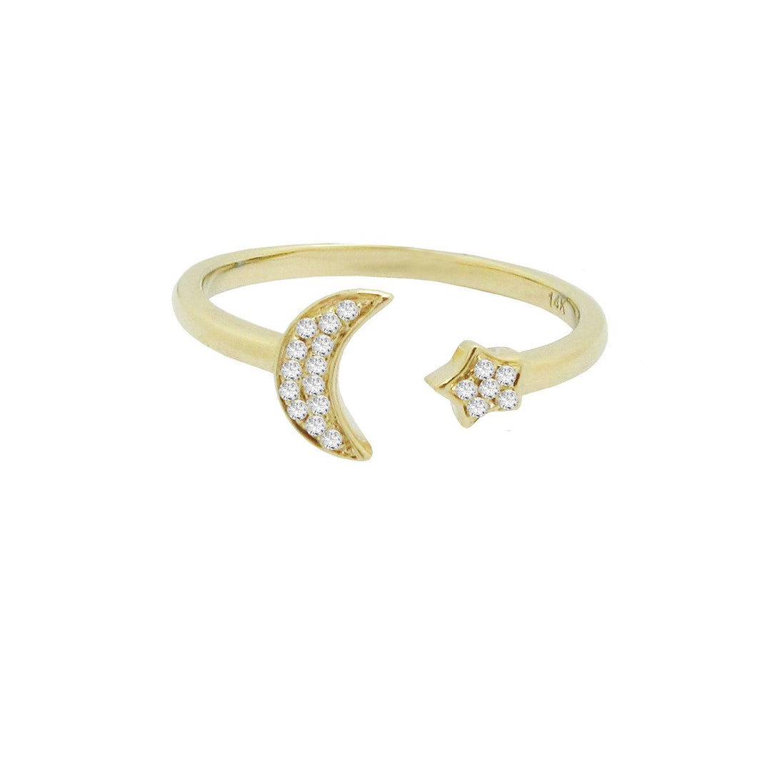 14K GOLD DIAMOND MOON AND STAR RING