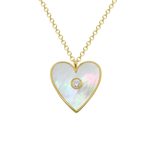 14K GOLD DIAMOND MOTHER OF PEARL LANA NECKLACE
