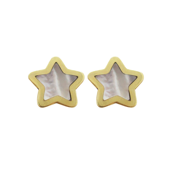 14K GOLD MEGAN SMALL WHITE STAR STUDS