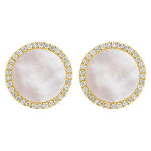 14K GOLD DIAMOND MOTHER OF PEARL LARGE LIELLE STUDS