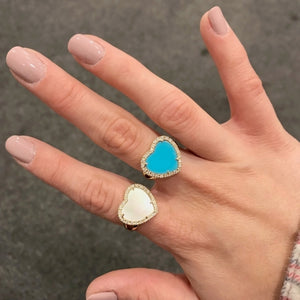 14K GOLD DIAMOND MOTHER OF PEARL DEMI RING