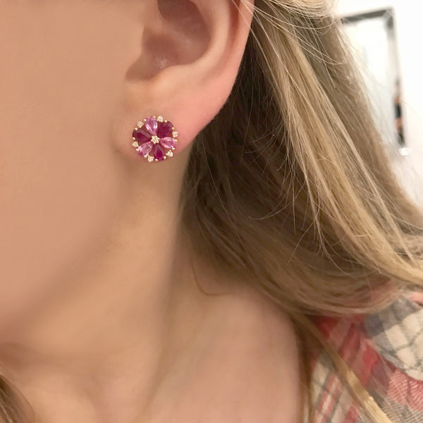 14K GOLD DIAMOND RUBY AND PINK SAPPHIRE BRIANA STUDS