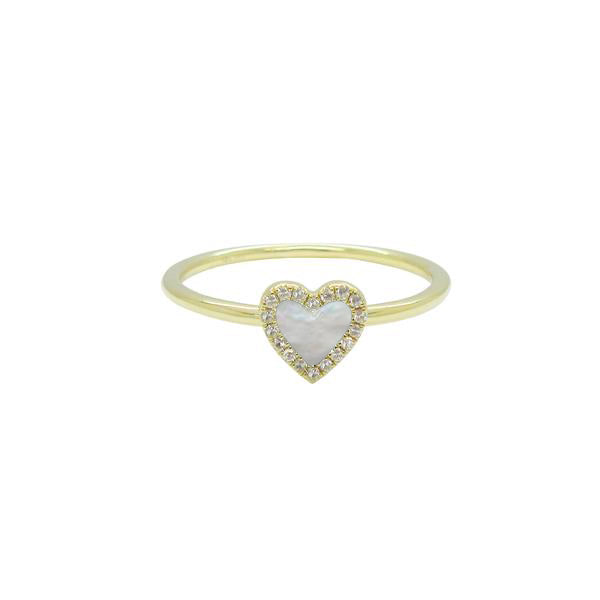 14K GOLD DIAMOND WHITE MOTHER OF PEARL HAILEY RING