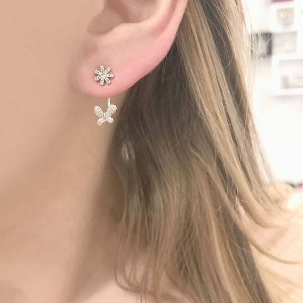STERLING SILVER DIAMOND FLOWER AND BUTTERFLY OVER UNDER EARRINGS