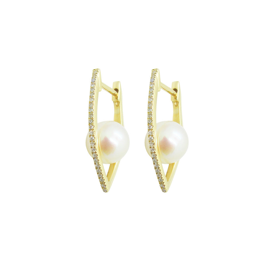 14K GOLD DIAMOND WILLA PEARL EARRINGS