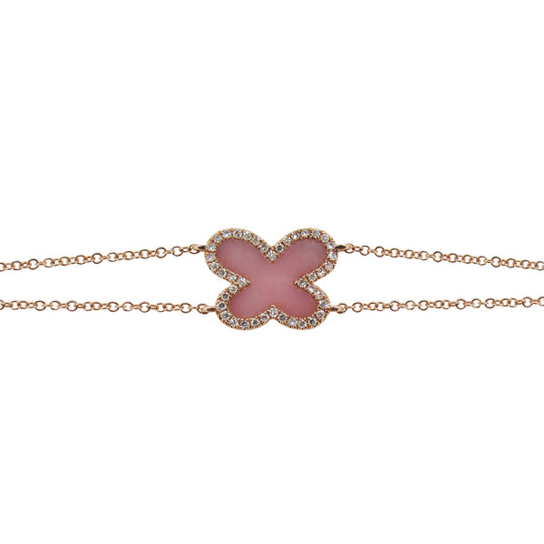 14K ROSE GOLD DIAMOND PINK OPAL AVA BUTTERFLY BRACELET