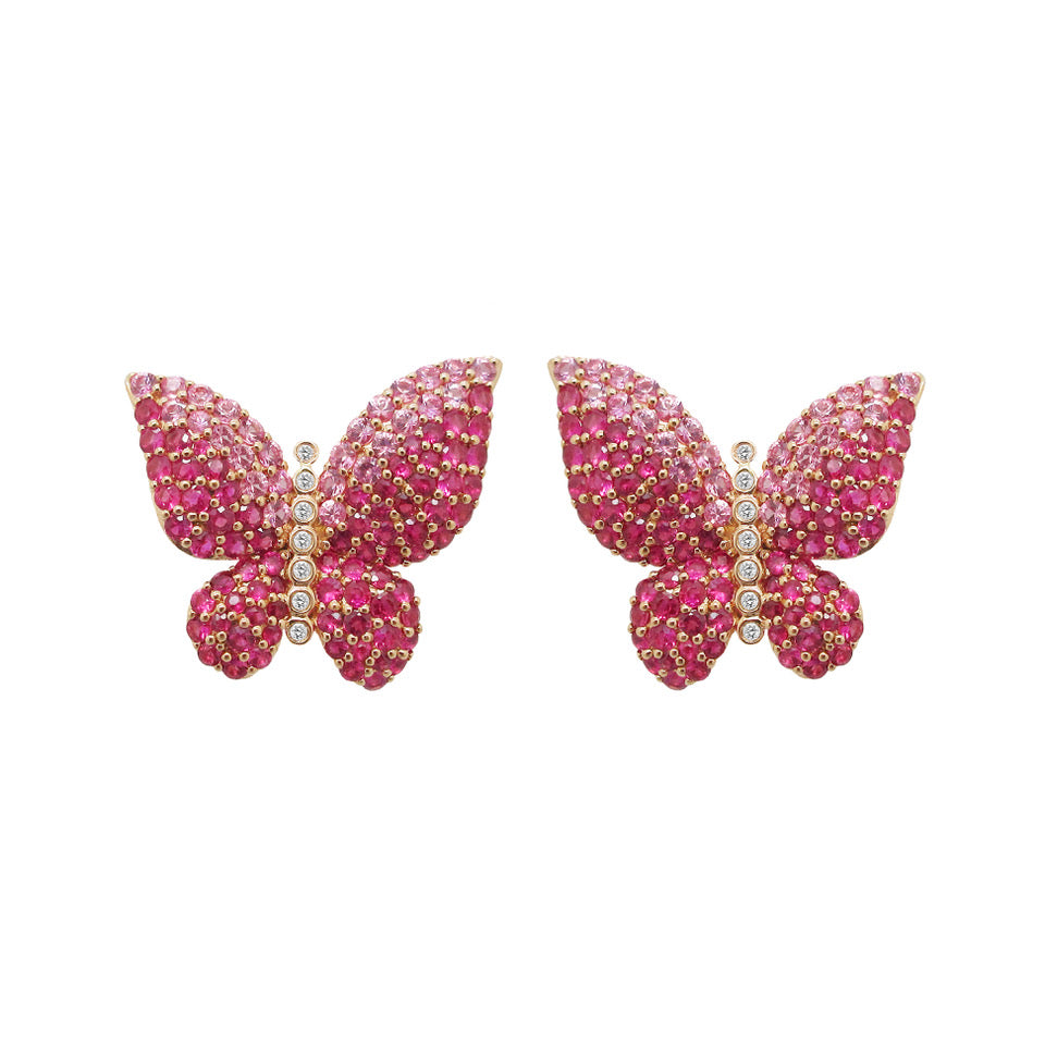 18K GOLD DIAMOND MELODY PINK BUTTERFLY EARRINGS