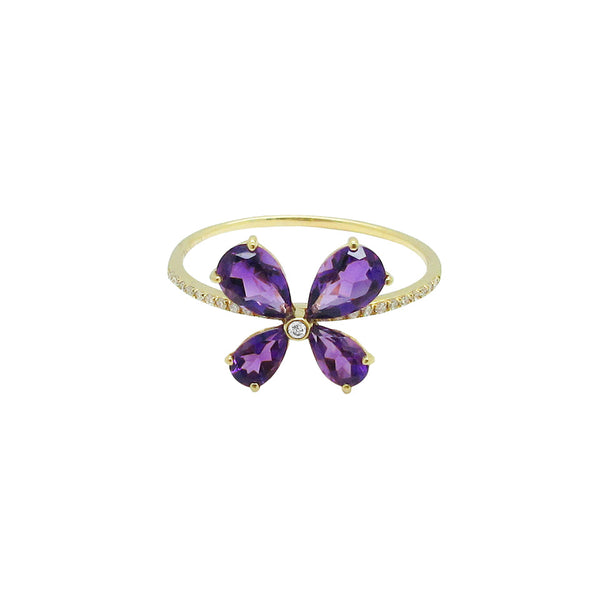 14K GOLD DIAMOND AMETHYST BUTTERFLY RING