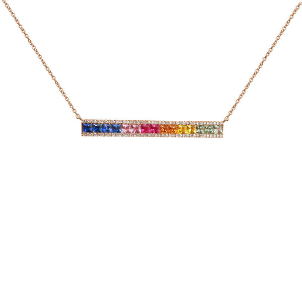 14K GOLD DIAMOND VICTORIA RAINBOW NECKLACE