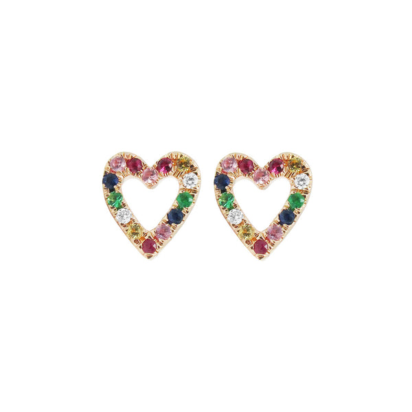 14K GOLD DIAMOND JADE RAINBOW HEART STUDS