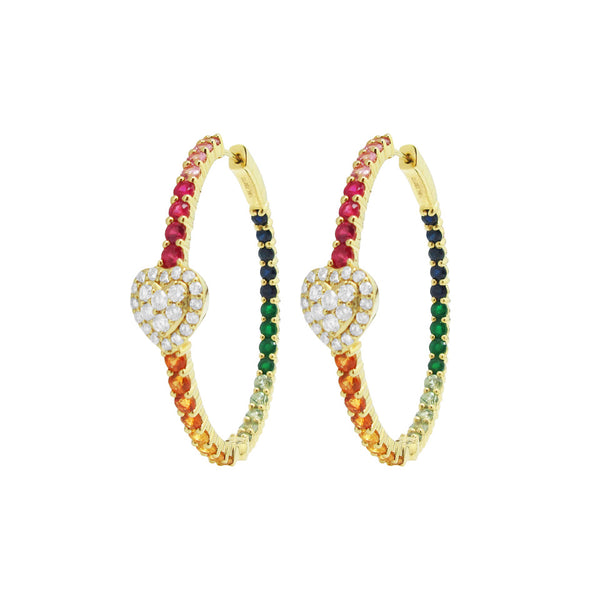 18K YELLOW GOLD DIAMOND MULTICOLOR PENELOPE HOOPS
