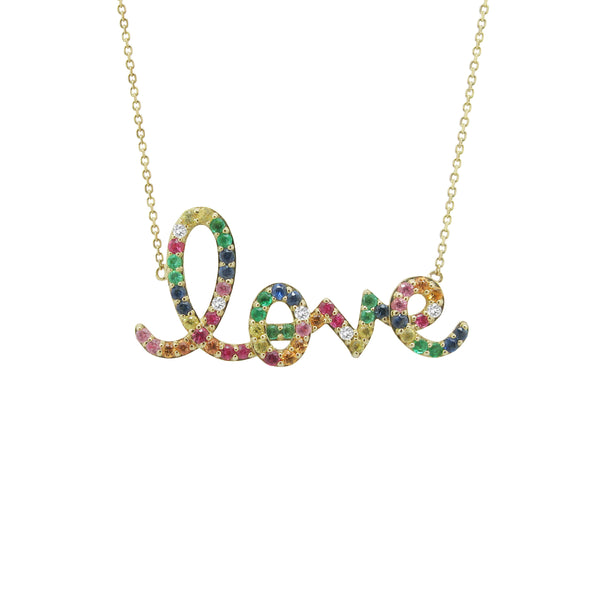 14K GOLD DIAMOND RAINBOW LOVE NECKLACE
