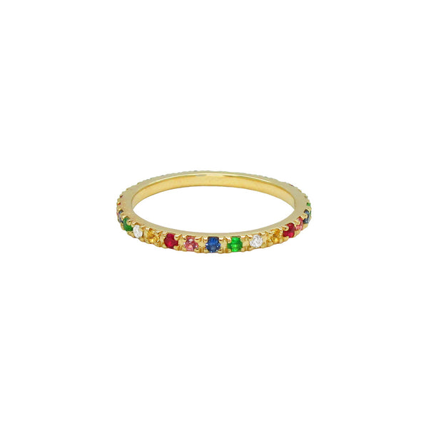 14K GOLD DIAMOND RAINBOW RING