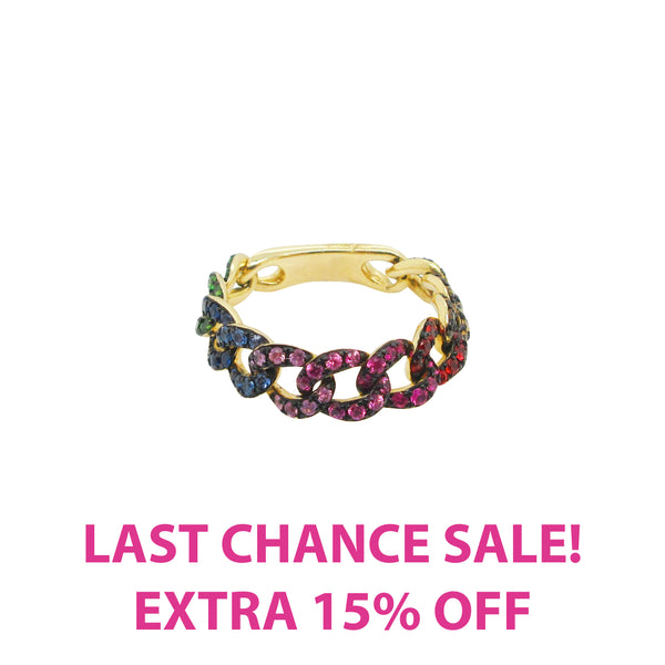 14K GOLD RAINBOW CHAIN RING