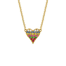 14K GOLD DIAMOND TESSA RAINBOW HEART NECKLACE