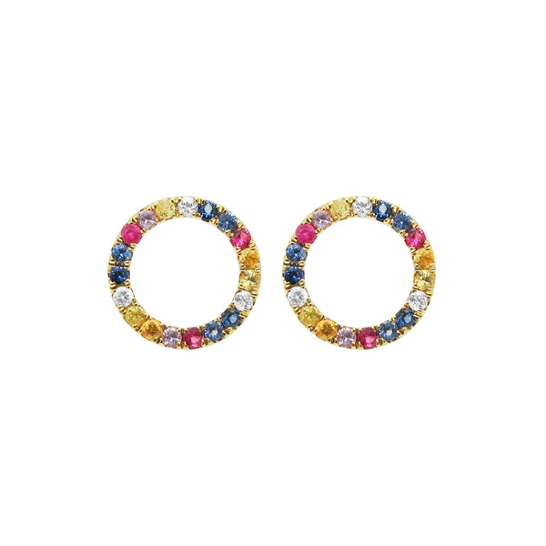 14K GOLD DIAMOND JAIME RAINBOW STUDS